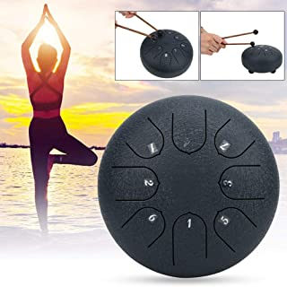Mini Steel Tongue Drum, 8 Tones 6 Inches Pan Drum C Major Hand Tank Tongue Drum with Rubber Support Pad with Storage Bag(Navy)
