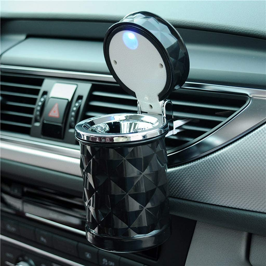 Auto Car Ashtray Portable with Blue LED Light Lighter Ashtray Smokeless Smoking Stand Cylinder Cup Holder White