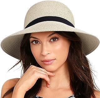 FURTALK Women Wide Brim Sun Hat Summer Beach Cap UPF50 UV Packable Straw Hat for Travel
