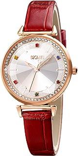 SKMEI Classic Quartz Colorful Rhinestone Fashion Design Women's Slim Leather Strap Wrist Watches for Women Waterproof Offi...