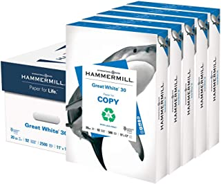 Hammermill Great White 30% Recycled 20lb Copy Paper, 11 x 17, 5 Ream Case, 2500 Sheets, Made in USA, Sustainably Sourced From American Family Tree Farms, 92 Bright, Acid Free, Printer Paper, 086750C