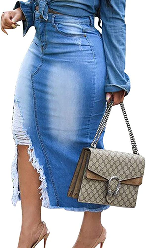WOKANSE Women Casual Distressed Ripped Denim Jean Split Bodycon Stretched Skirt with Pocket