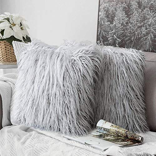 Lurowo 2 fundas de cojín de piel sintética y pelo largo largo de piel de oveja de piel de oveja para salón, sofá, dormitorio (gris claro)