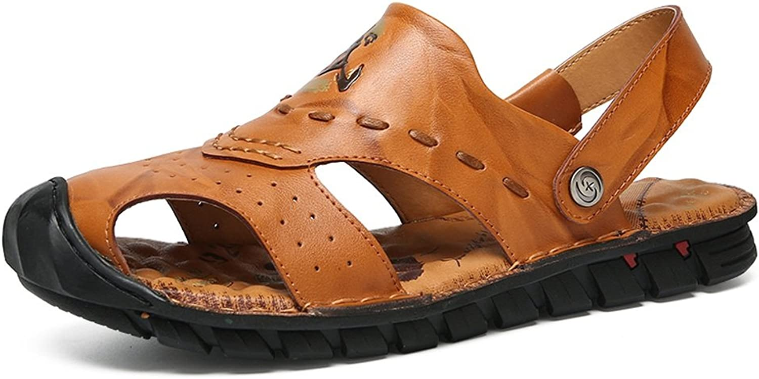 ANNFENG Fashion Summer Outdoor Casual Lightweight Men's Genuine Leather Beach Sandals, Comfort Elegant Breathable Perforation Vamp Non-slip Sole Slippers Switch Backless