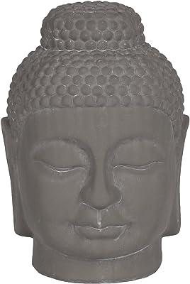 Urban Trends 28344 Ceramic Buddha Head with Rounded Ushnisha Washed Concrete Finish, Gray