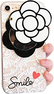 iPhone X Soft Case with Elegance Camellia Flower Rotating Mirror IPLUS Clear Lace Protective TPU Flexible Case Cover for Apple iPhone X(iPhone X, White Camellia)