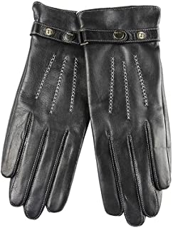 SHENTIANWEI Women's Leather Gloves/Velvet/Hand Embroidered Strap Gloves (Color : Black, Size : XL)