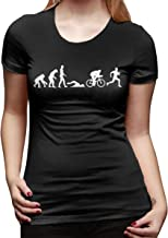 Kemeicle Women's Male Evolution Triathlon Design Short Sleeves T Shirts