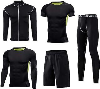 Men's Sports Running Set 5 Piece Set Men's Compression Pants Shirt Top Shorts Long Sleeve Jacket Short Sleeve Base Layers ...