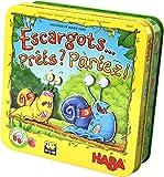 HABA Esgargots… Prêts Partez, Jeu amusant de course et de dés avec des escargots magnétiques en bois, pour 2-4 joueurs de 5 à 99 ans, 304027