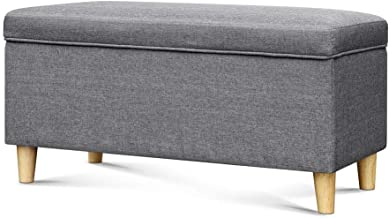 Keezi Kids Storage Ottoman Fabric Grey, 91(L) x 47(W) x 47(H)