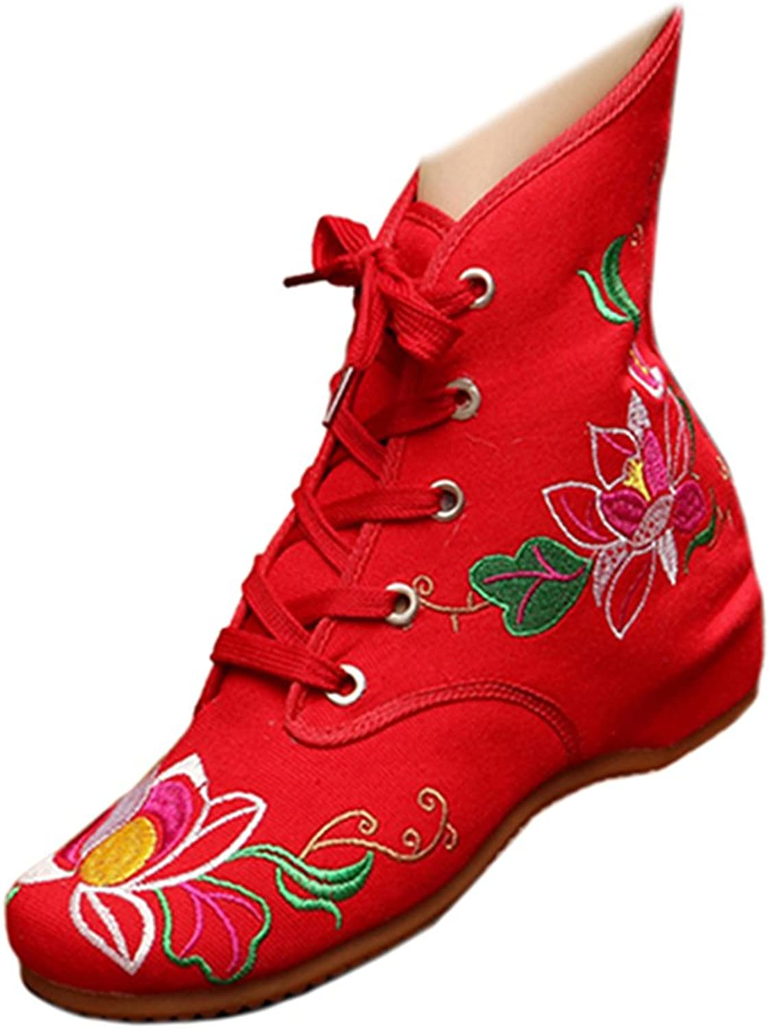 Shenghuajie Vintage Beijing Cloth shoes Embroidered Boots 11-01 red