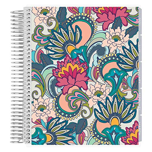 Erin Condren 12 - Month 2021 Coiled Life Planner (January - December 2021) - Playful Paisley Cover, Horizontal Weekly Layout, Layers Neutral Interior Design, Daily Agenda