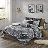 Urban Habitat Cotton Comforter Set-LuxeTraditional Design All Season Cozy Bedding with Matching Shams, Decorative Pillow, Full/Queen(88'x92'), Reversible Medallion Black 7 Piece