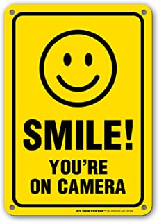 My Sign Center Smile You're on Camera Sign, Area Under Video Surveillance Sign Warning for CCTV Monitoring System, Outdoor Rust-Free Metal, 7