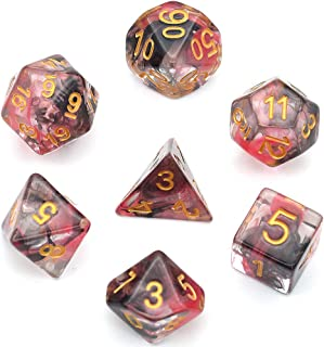 UDIXI Polyhedral Dice Set DND Transparent Dice Double Color Swirl Dice for Dungeons and Dragons MTG RPG Toptable Game