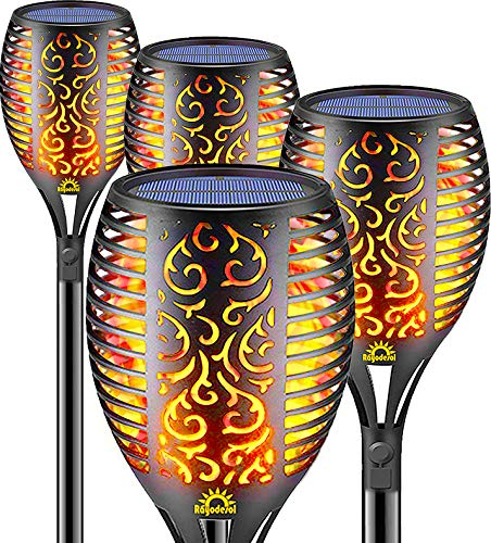 Solar Flame Torch Lights Outdoor, Decorative Pack of 4 piece Lamp with Dancing Flames Torches...