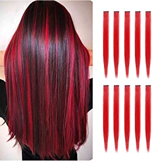 TOFAFA 22 inch Colored Hair Extensions straight Hairpiece,Multi-colors Party Highlights Clip in Synthetic Hair Extensions ...