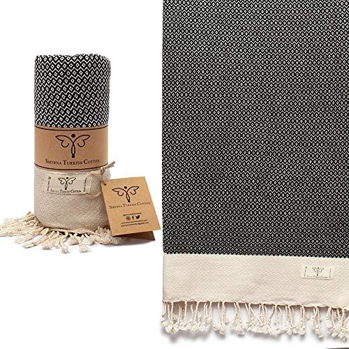Smyrna Vintage Series Original Turkish Beach Towel | 100% Cotton, Prewashed, 37 x 71 Inches | Turkish Bath Towel for SPA, Beach, Pool, Gym and Bathroom (Black)