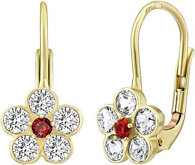 SILVEGO - SILVEGO70530R - Boucles d'Oreilles Femme - Or Jaune 585/1000 - Fleur avec Naturel Topaz Swarovski® Gemstones