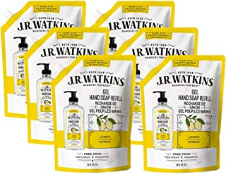 JR Watkins Gel Hand Soap Refill Pouch, Lemon, 6 Pack, Scented Liquid Hand Wash for Bathroom or Kitchen, USA Made and Crue...