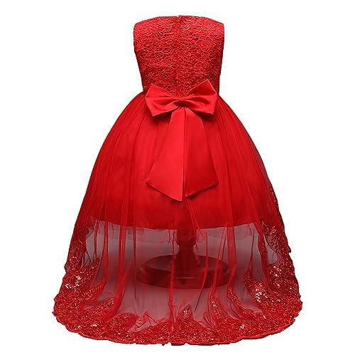 df981734310 omaysaa Sequins White Lace Trailing Boho Chiffon Flower Long Sleeves Girl  Dress 4-12 Year