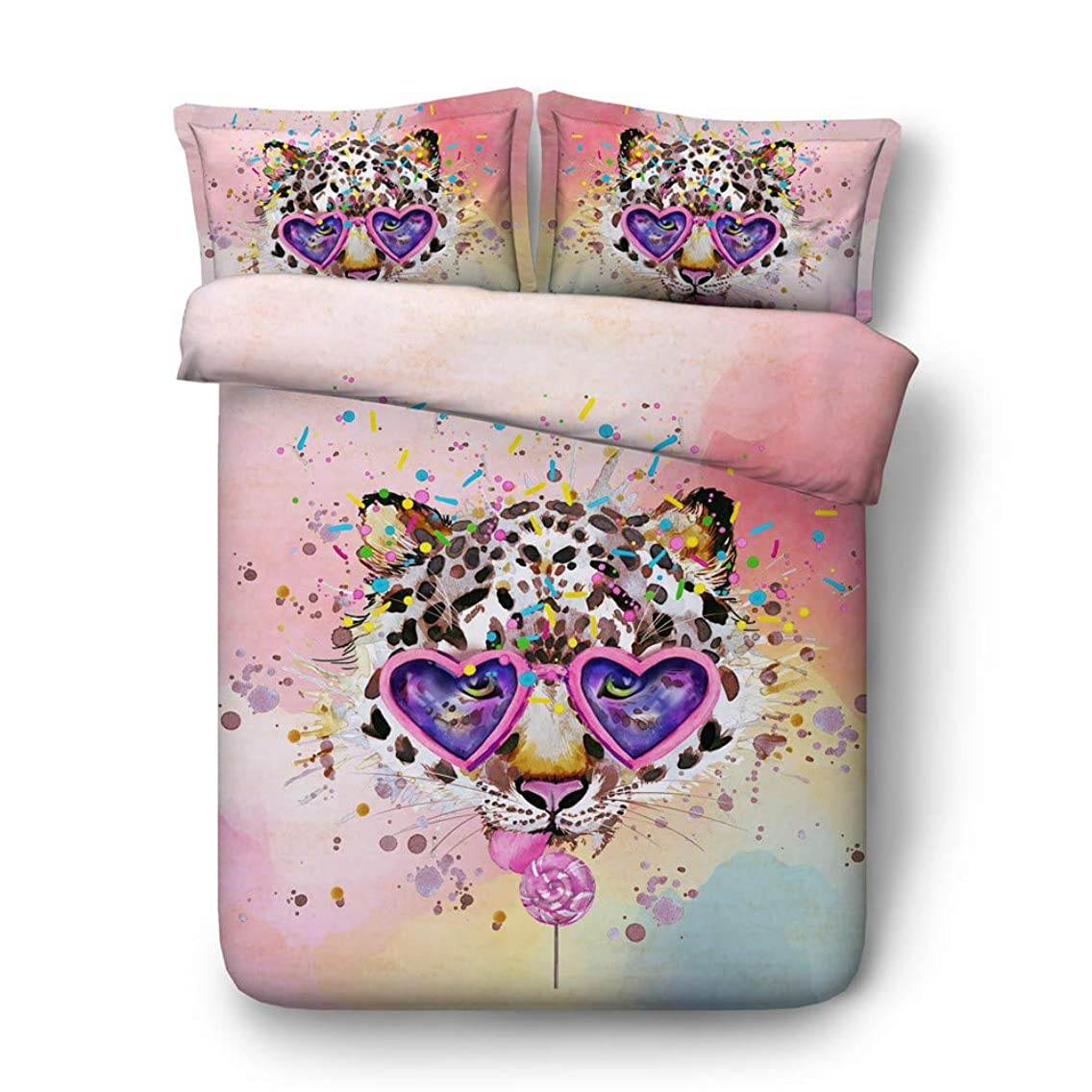 RoyalLinens Pink/Blue Watercolor Style Leopard Head Sunglasses Printed Bedding Cover Sets 3pcs 1 Duvet Cover 2 Shams (JF521, Queen 3pcs)