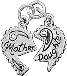 Sterling Silver Girls .8mm Box Chain MOTHER DAUGHTER Two 2 Piece Shareable Split Heart Pendant Necklace