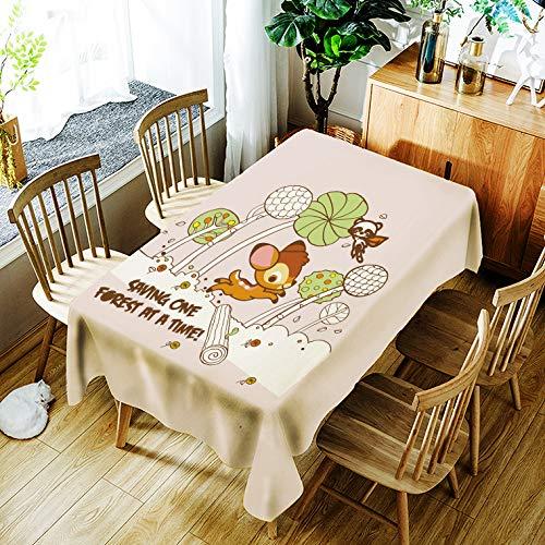 Tafelkleed Cartoon Anime Jungle Puppy Happy Birthday Thema voor kinderen Waterdicht Comfortabel huis (rechthoekig, polyester, 55X78 inch)