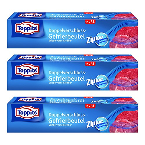 Toppits Doppelverschluss Beutel 3L (27 x 24cm), 3er Pack (3 x 15 Beutel)