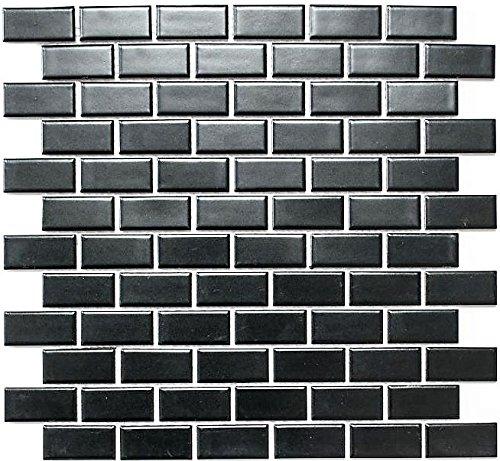 Mosaik Fliese Keramik Brick schwarz matt für BODEN WAND BAD WC DUSCHE KÜCHE FLIESENSPIEGEL THEKENVERKLEIDUNG BADEWANNENVERKLEIDUNG Mosaikmatte Mosaikplatte
