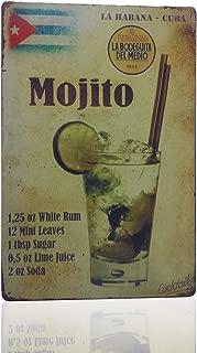 MMOUNT Mojito La Habana Cuba Drink Tin Sign Wall Kitchen Retro Metal Bar Food Style Ornament Coffee Decor Home Gift Size 8 X 12