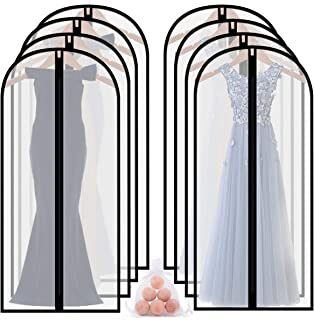 homeminda Garment Bags for Long Dress 8packs 60in Clear Moth Proof Lightweight Breathable Dust Cover with Cedar Balls and Study Full Zipper for Storage Clothes Gown and Travel