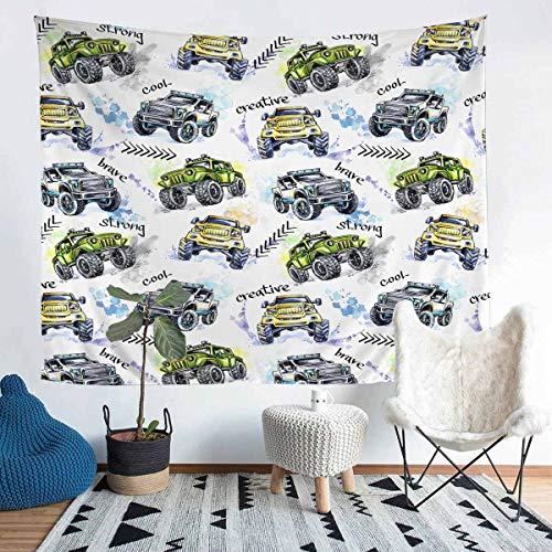 Loussiesd Tapiz 3D para colgar en la pared para niños, niños, adolescentes, vehículos frescos, estilo de automóvil, arte de pared para dormitorio, sala de estar, tamaño grande de 69 x 91