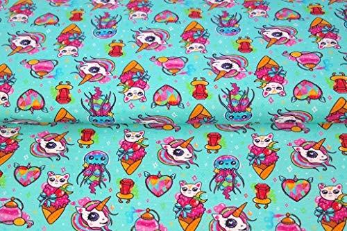Stenzo – Jersey Stoff mit Katzen und Einhönern I Digital Druck Baumwolljersey Meterware I 150 x 50 cm I Aquamarine, pink