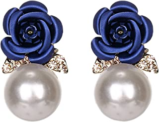 18K Gold Plated CZ White Crystal Back Hanging Blue Rose Flower With Pearl Women Stud earrings