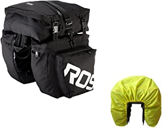 luckybuy11 Bike Pannier Bag Bicycle Rear Rack Bag Waterproof, 3 in 1 Rear Seat Bicycle Saddle Bag with Rain Cover for Cycling