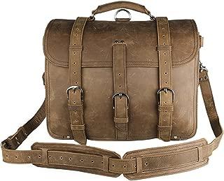Genda 2Archer Men's Crazy-Horse Leather Vintage Briefcase Shoulder Laptop Bag 42cm(L) * 23cm(Wide)*30.5cm(H) Brown Yellow