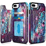 HianDier Wallet Case for iPhone 8 Plus 7 Plus Slim Protective Case with Credit Card Slot Holder Flip Soft PU Leather Magnetic Closure Cover Compatible with iPhone 7 Plus 8 Plus 6 Plus 6s Plus, Mandala