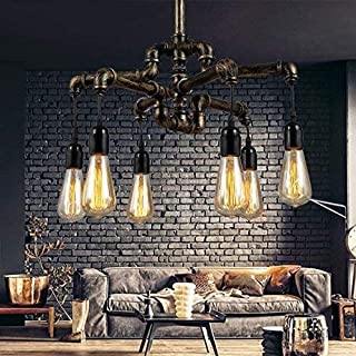 XUHUI Decorative Lamps Village Retro Water Pipe 6 Chandelier Creative Personality Restaurant Restaurant bar bar Cafe Indus...