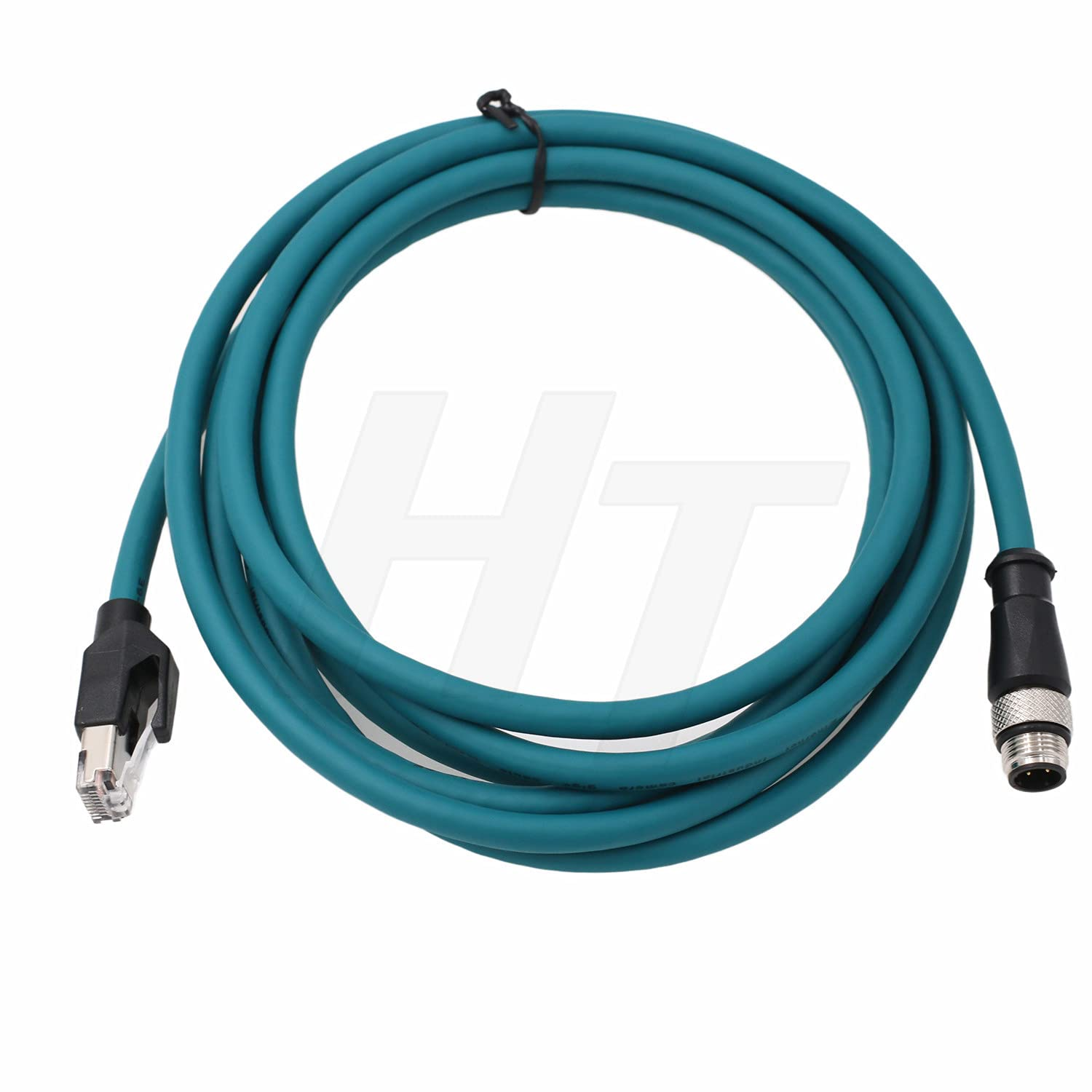 HangTon Industrial Machinery M12 4 Pin D-Code RJ45 Ethernet Power Cable, Shielded High Flex Waterproof Network Cable (5m)