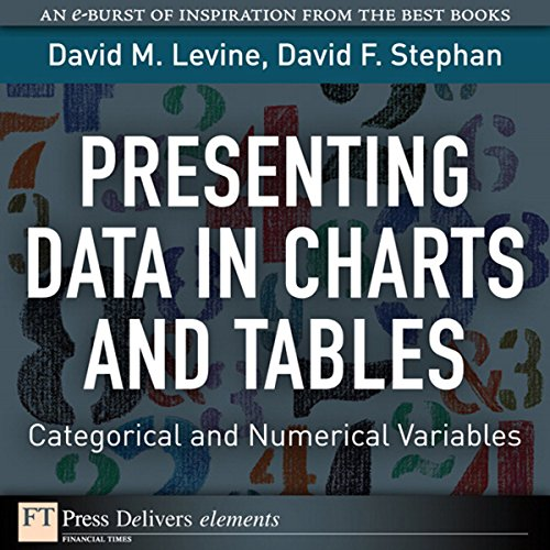 Presenting Data in Charts and Tables     Categorical and Numerical Variables              By:                                                                                                                                 David M. Levine                               Narrated by:                                                                                                                                 Ken Kliban                      Length: 15 mins     Not rated yet     Overall 0.0