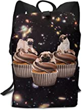 Louise Morrison Cupcakes Pug Boys Girls Backpack Teens Bookbag for School Or Travel