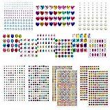 Baozun Selbstklebenden Strasssteine 15 Blätter 2066 Glitzersteine Selbstklebend Schmucksteine Aufkleber für Kinder Handwerke, Fotorahmen, Grußkarten, in Verschiedenen Größen