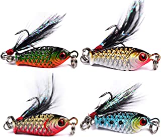 DOITPE 4PCS Fishing Lures 3D Fishing Eyes Lifelike Swimbait Crankbait Fish Baits Treble Hooks with Feather in Freshwater and Saltwater