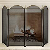 Amagabeli Large Gold Fireplace Screen 4 Panel Ornate Wrought Iron Black Metal Fire Place Standing Gate Decorative Mesh Solid Baby Safe Proof Fence Steel Spark Guard Cover Outdoor Tools Accessories