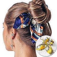 LIFE新シフォンちょう結び弾性ヘアバンド女性の女の子真珠 Scrunchies 髪ネクタイポニーテールホルダーヘアアクセサリーヘッドバンド 汗止め
