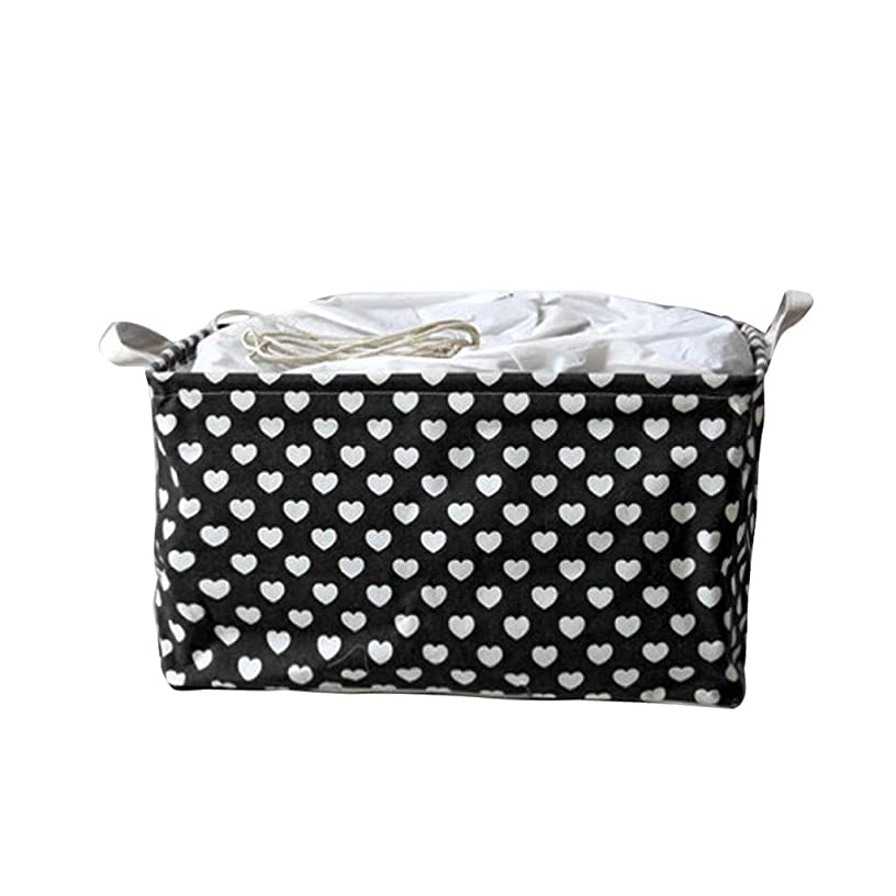 Ktyssp Cotton Linen Waterproof PE Coating Storage Basket Sundries Storage Box (Black)