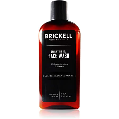 Brickell Men's Clarifying Gel Face Wash for Men, Natural and Organic Rich Foaming Daily Facial Cleanser Formulated With Geranium, Coconut and Aloe, 8 Ounce, Scented