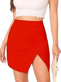 WDIRARA Falda asimétrica de Mujer con solapamiento sólido, Rojo, XS